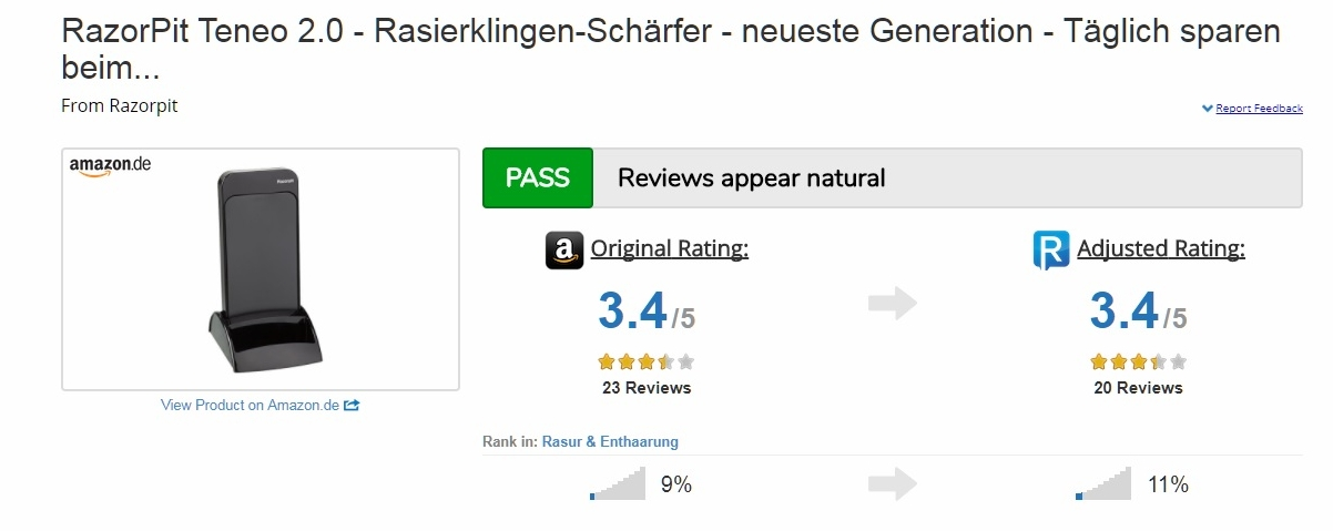 ReviewMeta Reviewmeta The Leading Detection Software Of Fake Ratings WARN Unnatural Reviews Possible Amazon Also Offers Sharpener